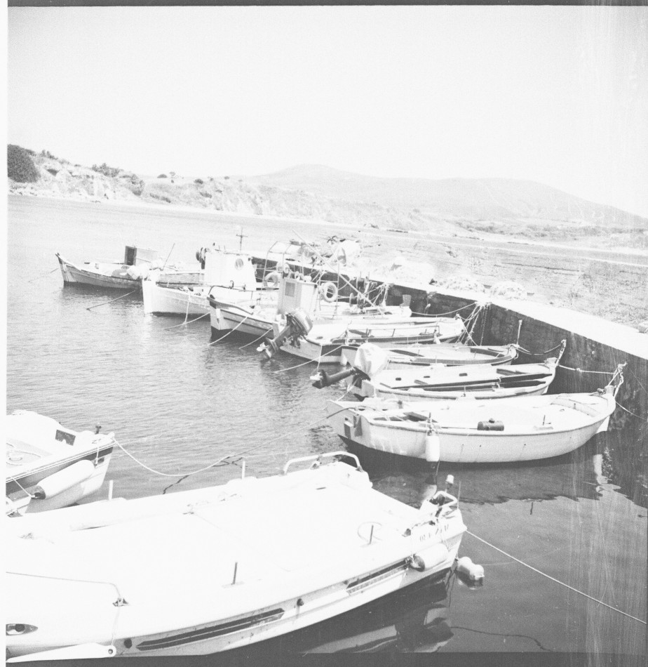 Greek island in black and white