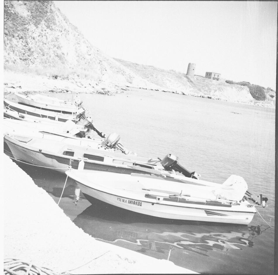 Greek island in black and white