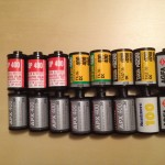 Several black and white film 135 format cartridges